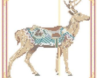 Carousel Deer Cross Stitch Pattern Herschell-Spillman, Golden Gate Park, San Francisco PDF