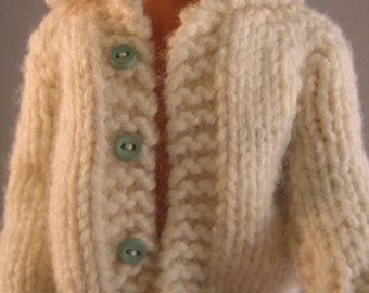 "Hand Knit Doll Clothes Bulky White Cardigan fits 12"" fashion doll such as Ken"