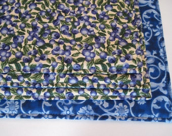 Blueberry Placemats 4 or 6 Reversible Blue Placemats Blueberries Placemats Summer Placemats Blue and White Kitchen Decor Blue Table Linens