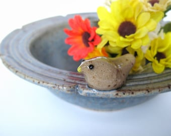 Vase with a bird in speckled rustic blue, IN STOCK