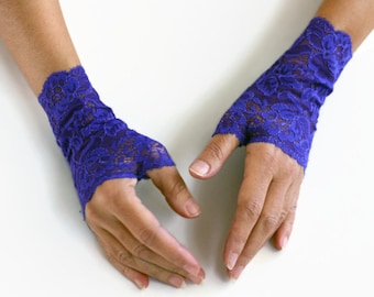 Fingerless Lace Gloves, Bridal Wrist Cuffs in Cobalt Blue Color. Handmade