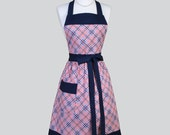 Full Bib Womens Apron / Womans Vintage Cooking Kitchen Apron in Plaid Check Gingham Red White Blue Retro Chef Apron Personalize or Monogram