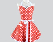 Sweetheart Retro Apron - Citrus Orange and White Polka Dot Pinup Style for Halloween Costume or Fall Baking or Housewarming Gifts for Her