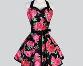 Sweetheart Retro Apron - Raspberry Pink and Black Peony Rose Floral Elegant Full Kitchen Apron