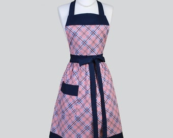 Classic Bib Apron / Red White and Blue Plaid Check Gingham Chef Apron Ideal Gift for her to Personalize or Monogram