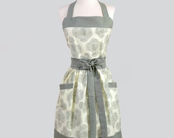 Classic Bib Apron / Amy Butler Ivory and Slate Gray Floral Hostess Apron Ideal to Gift for Her and Personalize or Monogram