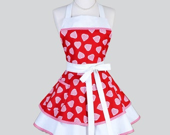 Ruffled Retro Apron / Cute Full Flirty Womans Kitchen Apron in Vintage Style Red Gingham Hearts and Trims Personalize or Monogram