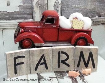 Fall Sale FARM Weathered Wood Shelf Blocks / Sign / Country Farm Sign / Rustic Kitchen Decor / Primitive / Farm Party Decor 3 Day Ship