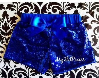 Girls BLUE Sparkle Sequin SHORTS-  girls birthday outfit- girls sequin shorts- toddler shorts- toddler sequin shorts- Black shorts