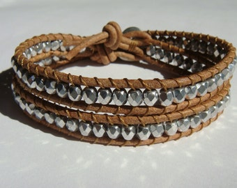 Silver Beaded Leather Wrap Bracelet