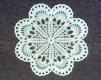 D-3 - Crochet Doily, Crochet Lace Doily, Round Doily, vintage doily, Valentine's Day, Ecru  Doily, Black Doily