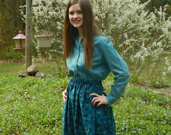 Girl's skirt, modest, in shades of blue and green