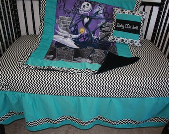 4pc Turquoise  nightmare before christmas baby bedding - Free personalized pillow