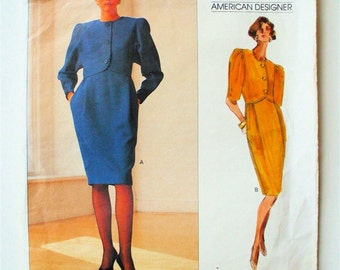 Vintage VOGUE American Designer Dress Oscar de la Renta Suit Dress 2337 12-14-16