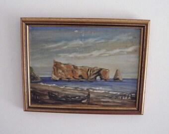 Vintage Original Impressionism Painting // Perce Rock Quebec Canada // Framed Seascape // Painting Damaged