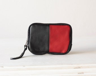 Leather coin wallet in black and red, zipper pouch zipper phone case money bag - The Myrto Zipper pouch