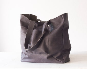 Shopper tote bag in grey leather, shoulder bag, women purse, large bag, raw edge leather tote - The Aella tote