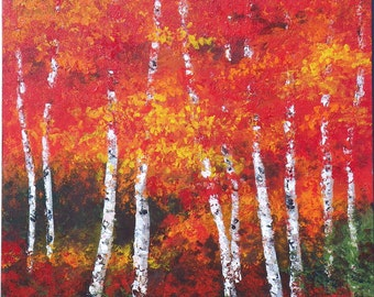 Fall leaves and birch trees large square tree painting. Bright colorful reds, oranges and yellow autumn painting