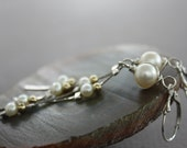 Long dangle sterling silver earrings with white pearls and gold filled beads on snake chain - Long earrings - Dangle earrings