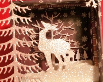 SALE!!!Tiny Shadow Box, With Sparkling Winter Scene, and Deer