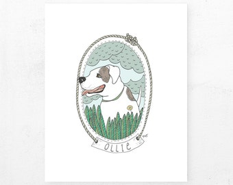 Customizeable Pet Portrait | Spotted White Dog