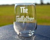 Etched Godfather Your choice of Single Glass  for the Godfather, Baptism, Christening, Godparents Gift - by Jackglass on Etsy
