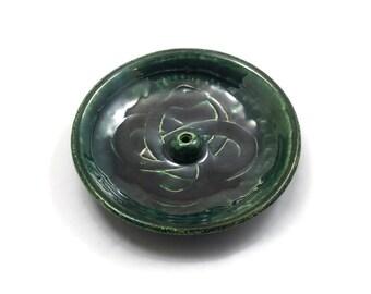 Raku Oroboros Snake Incense burner Handmade Ceramic Pottery