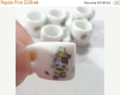 50% OFF - 6 Porcelain Mini Mug Beads Charm RUGBY Sport Theme for your Project