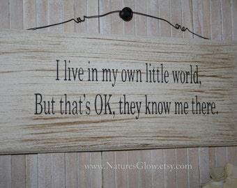 Funny Sign - Funny Wall Decor - I Live in My Own Little World - Wooden Sign - Funny Quote Sign - Motivatonal Decor - Rustic Decor