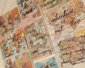 Hand Lettered Vintage Map Postcard Set of 4 -  4x6 Modern Calligraphy Quote