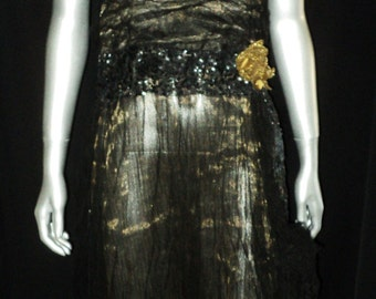 Edwardian Gold Lame with Black Tulle Dress Sequin Bodice, Waistline and hem Gold Metallic Lame Flower Appliques Lame Straps
