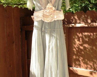 Antique Edwardian Gown Pink and Grey Silk Sash Beaded Neckline Pearl Sleeves Needs Restoration Handmade