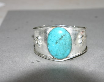 Turquoise Stone & Sterling Silver Cuff Bangle
