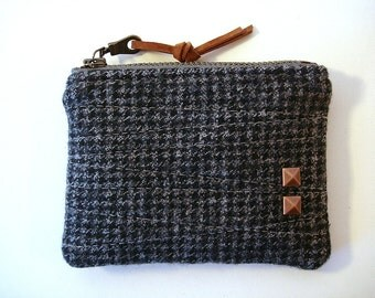 Heather and Black Houndstooth Small Card Zipper Pouch Coin Purse