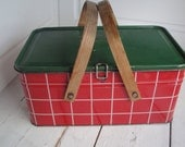 Vintage Bread Box Picnic Basket Salerno Red Green
