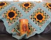 Crochet Sunflower Lap Blanket with Mug