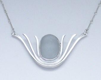 Sea Glass Jewelry - Sterling Rare Gray Sea Glass Necklace