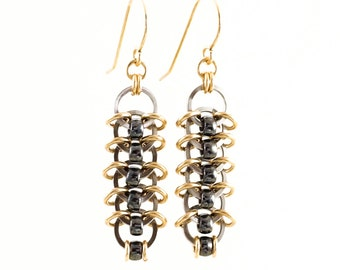 Madison Stainless Steel and 14kt Yellow Gold Filled Earrings - Ready Made or Kit