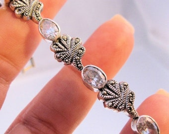 BIGGEST SALE of the Year Art Deco Style Marcasite & Crystal Sterling Silver Link Bracelet Vintage Jewelry Jewellery