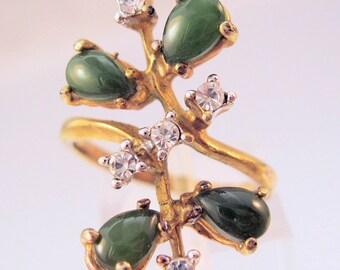 1960s Genuine UNCAS Jade & Rhinestone 14k HGE Ring Size 7 Vintage Jewelry Jewellery