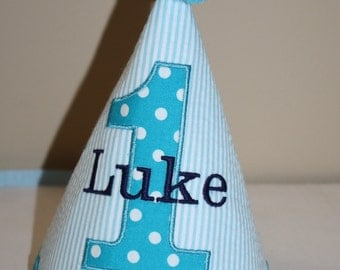boys birthday party, boys 1st birthday hat, aqua blue, teal blue, navy blue, personalized birthday hat, cake smash hat
