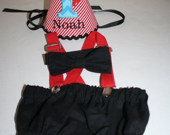 pirate first birthday outfit boy, pirate theme birthday, cake smash outfit, 1st birthday hat, bow tie diaper cover, suspenders