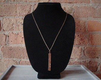 Long Hammered Brass Multi Stone Necklace