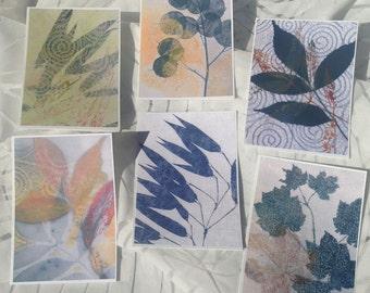 set of 6 cards, plant prints