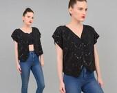 SALE 80s Black Silk Beaded Blouse Sequin Art Deco Shirt Draped Short Sleeve 1980s Crop Top Jacket one size