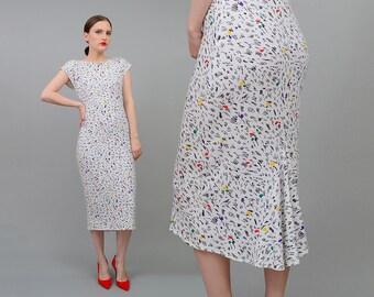 Vintage 80s White Artsy Abstract Print Stretchy Jersey Knit Body Con Midi Dress Small Medium S M