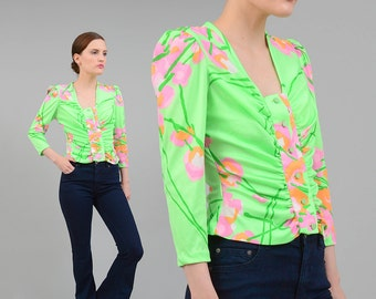 Vintage 60s 70s Bright Green Botanical Floral Top Op Art Print Shirt Fitted Knit Button Up Puff Sleeve Blouse Small S