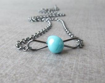 Robins Egg Blue Necklace, Lampwork Necklace Blue, Oxidized Sterling Silver, Blue Minimalist Necklace, Dark Wire Pendant Necklace, Blue Glass