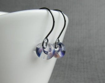 Small Mottled Purple Earrings, Purple Lampwork Earrings, Purple Glass Drop Earrings, Small Wire Dangles, Oxidized Sterling Small Earrings