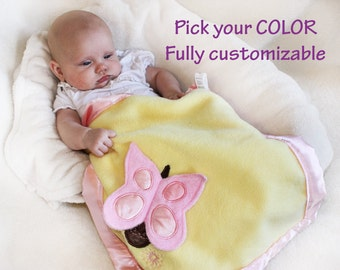 Pink Butterfly Security Blanket, Lovey Blanket, Baby Blanket, Stuffed Animal, Baby Toy - Customize Color - Personalization Available